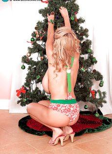 Фотографии красотки с огромными дойками возле новогодней елки - фото #9