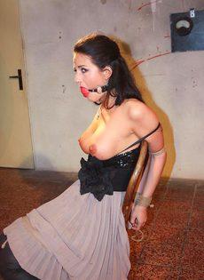БДСМ для брюнетистой девицы с упругими сиськами - фото #14
