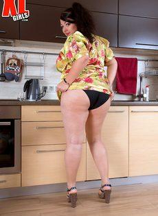 Толстая похотливая брюнетка хорошо проводит время на кухне - фото #4