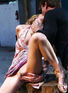 Откровенный трах между ног развратницы с силиконовыми сиськами - фото #1