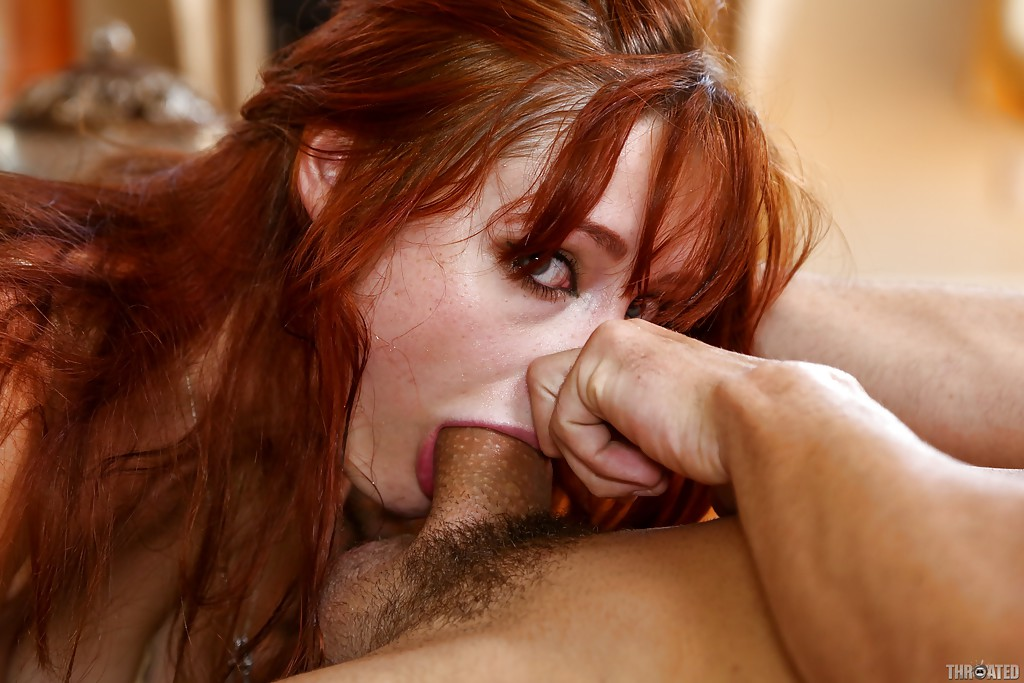 Attractive redhead step mom mouth fucked by hung stud POV
